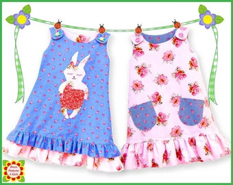 Sunny Bunny Reversible Jumper Dress Pattern + Free Mother-Daughter Apron Pattern, Girls, Baby, Toddler, Children's Sewing Patterns