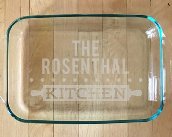 Housewarming Gift, Personalized Baking Dish, Glass Casserole Dish, Custom Etched Glass Baking Dish, Custom Etched Baking Dish, Wedding Gift