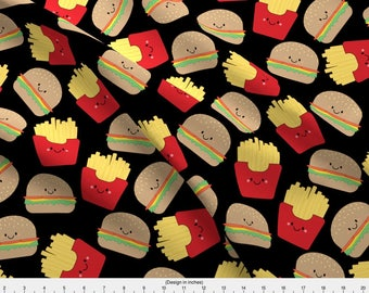 Burger Fabric - Burger And Fries On Black By Sylviaoh - Burger Novelty Food Cotton Fabric By The Yard With Spoonflower
