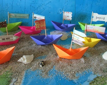 10 paper boats summer beach photo prop art supply party decor cake topper