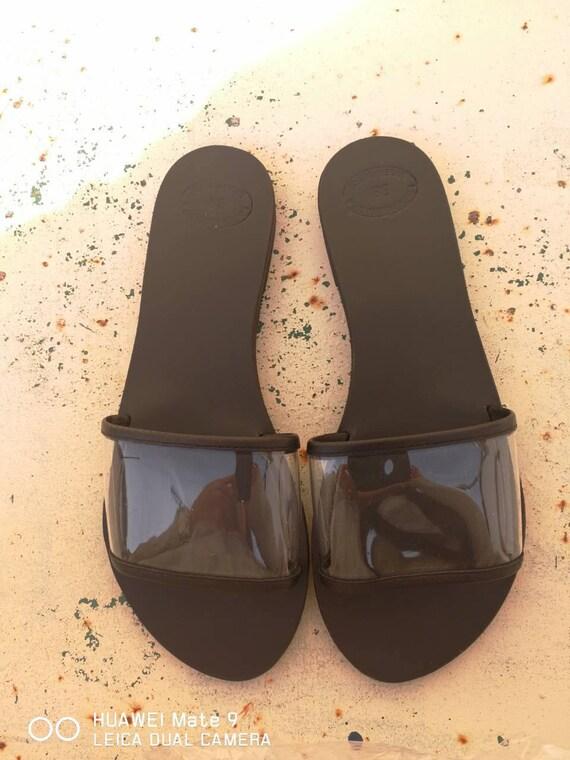 Sandals flats Summer Leather Leather Black Women sandals Clear Handmade Sandals slides Flats Sandals Greek Strap gift shoes Leather g1YdwqdO8