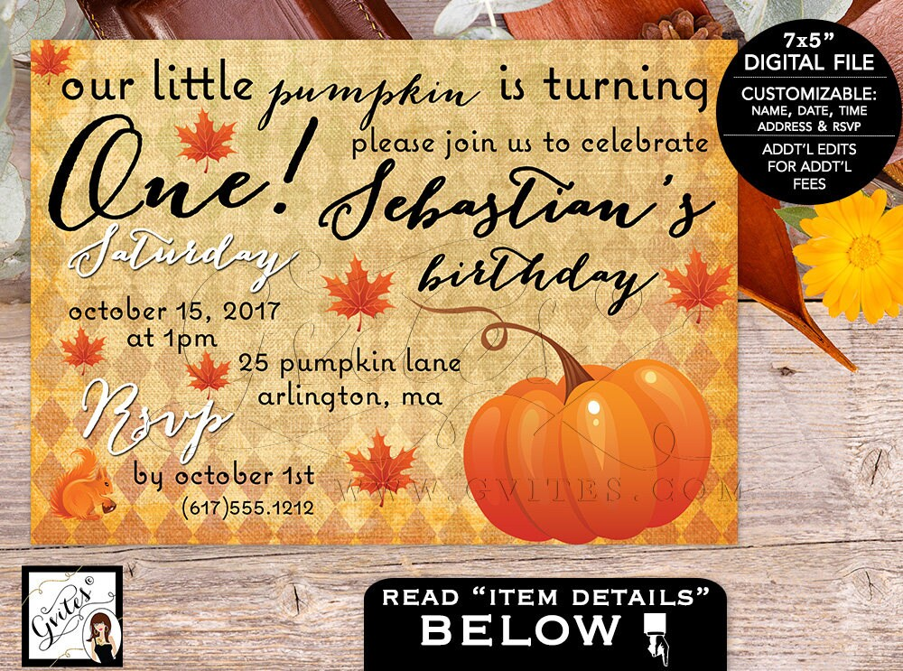 Our little pumpkin is turning one birthday invitation, First bday ...