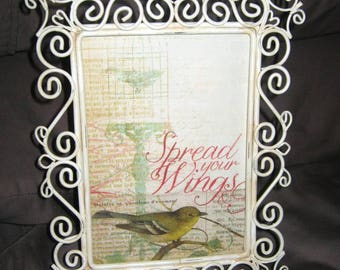 Upcycled in ANTiQUE WHiTE WiRE FRAME with BiRD PRINT (Spread Your Wings) - GRADUATiON or NURSERy