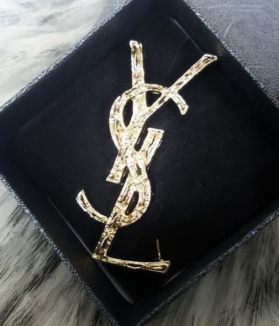 Brooch Gold Silver Ysl Letter English Pin by Etsy