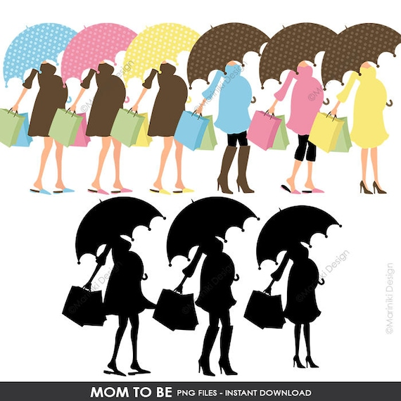 Mom to be clipart pregnant woman umbrella shopping silhouette mom to be clipart pregnant woman umbrella shopping silhouette digital clip art for baby shower invitations instant download cliparts c24 from filmwisefo