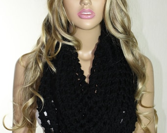 Hand Knitted Black Scarf Cowl Neck Warmer Christmas Gift For Her ESCHERPE