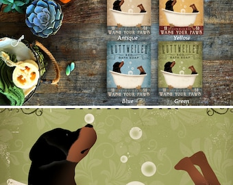 Rottweiler Rottie dog bath soap Company artwork on gallery wrapped canvas by Stephen Fowler