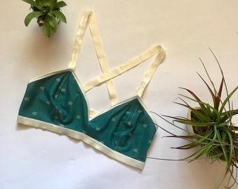 Green Arrow Bralette/ Handmade Bralette/ Green Bralette/ Cotton Bralette