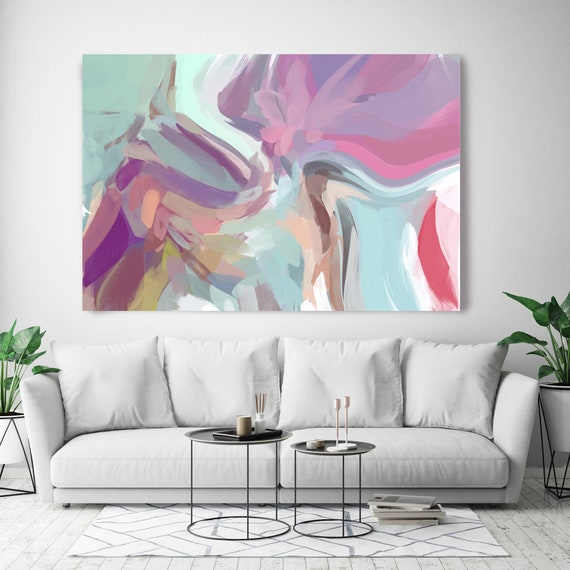 "The Color Movement.1, Abstract Painting Modern Wall Art Painting Canvas Art Print Art Modern Pink Purple Blue up to 80"" by Irena Orlov"