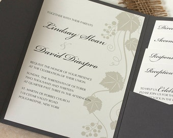 Grape Vine Wedding Invitation, Vineyard Wedding Invitation, Green and Gray