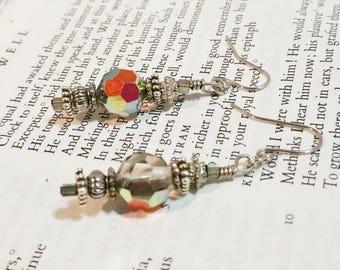 Rainbow Earrings Dangle Drop Glass Earrings