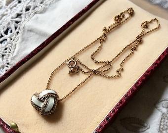 Gorgeous ART Deco DIAMONDS ENAMEL Vermeil Necklace - Gold & Silver - Genuine Diamonds - Beautiful Vintage Design - Luxury Design - from France
