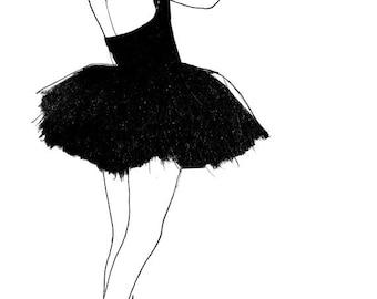 black swan ballerina, black and white fashion prints, vintage art prints, fashion art, fashion prints wall art, vintage artwork, salon art