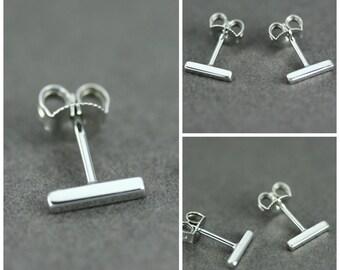 Bar stud earrings, Silver bar stud earrings, Square stud earrings, Sterling silver bar earrings, Staple stud earring, Delicate Studs