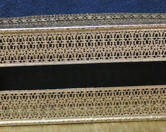 Footed Gold Filigree Metal Tissue Box Holder