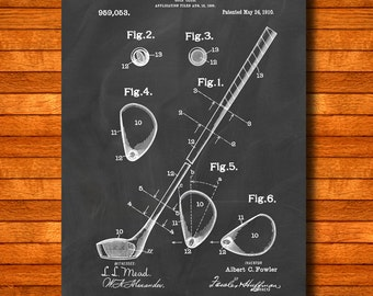 "Retro 1910 ""Golf Club"" Vintage Patent Illustration, Art Print Poster, Wall Art, Home Decor, Sport, Golfing, Golf, Game Of Golf, Gift Idea 28"