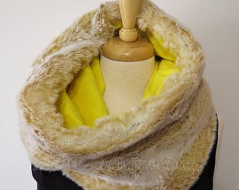 Faux Fur Cowl Scarf, Creamy White Fur, Soft Yellow Lining, SPRING SALE 50% OFF
