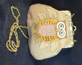 SALE Bead embroidered  OWL fabric purse/handbag with Kiss Clasp...