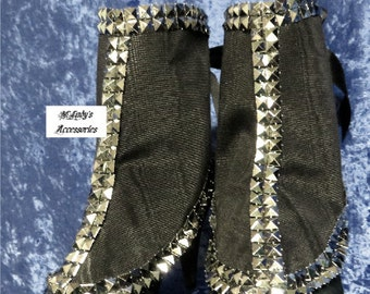 WOMENS SPATS GAITERS Shoe Covers in Black Moire Taffeta with Silver Pyramid Faux Studs Steampunk Goth Edwardian Victorian Pageant Prom