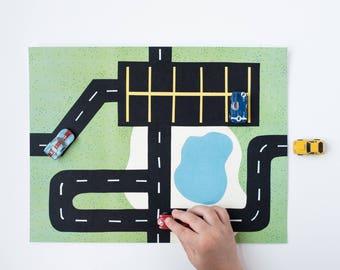 Car Printable Play Mat #3: Parking Lot Mat. For Micro Toy Cars.