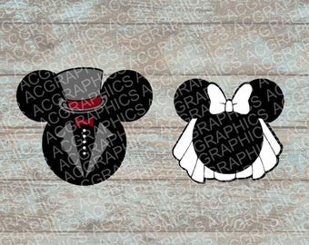 Bride and Groom Mouse Heads SVG, DXF, JPEG, and Studio Downloads