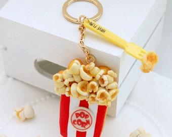 Popcorn bucket icing cookie key chain / bag hanger
