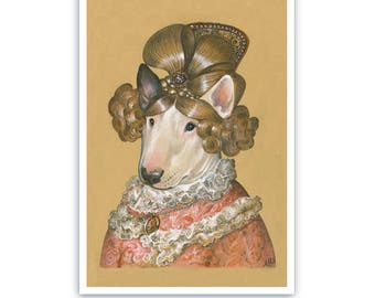 Bull Terrier Art Print - Lady in a Wig - Chic Dog, Dogs in Clothes Art - Lady Dog Portraits of Animal Century