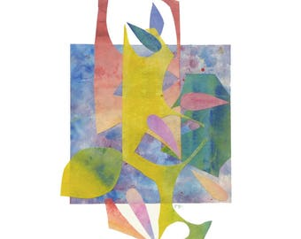 Spring collage artwork, nature inspired art, floral spring blossom, pastel colors