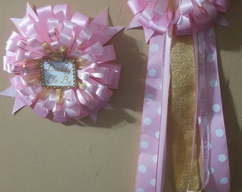 Pink and Gold Mommy to be OR Daddy to be Corsage