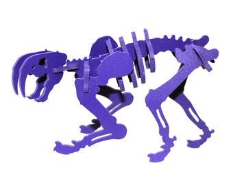 Dinosaur Puzzle, Dinosaur Toy, MINIATURE 3D Dinosaur Skeleton Puzzle, Recyclable PVC Smilodon, PURPLE, Saber Tooth Tiger Toy
