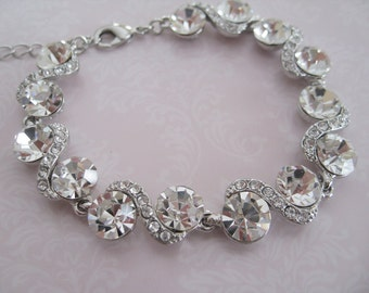 Bridal Jewelry - Bride Bracelet - Bridesmaid Bracelet - Rhinestone Bracelet - Bridal Accessories - Wedding Jewelry