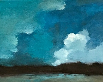 ACEO 1735, original painting, oil, landscape, 100% charity donation, sky, clouds