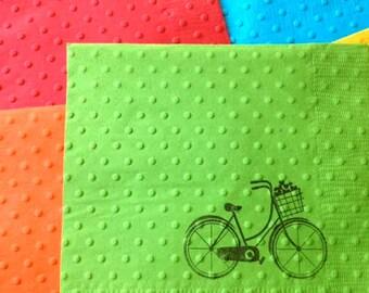 Bicycle Napkins - Bridal Shower Napkins - Wedding Napkins - Paper Napkins - Bike Theme - Baby Shower Napkin - Bicycle Theme - Stamped Napkin