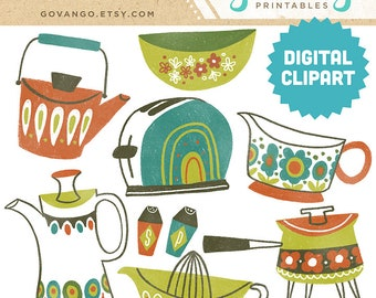 VINTAGE COOKWARE Digital Clipart Instant Download Illustration Collage Ephemera Commercial Retro Midcentury Mod Kitchen Cooking 50s 60s Art