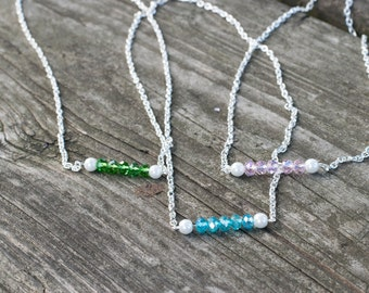 Custom Color Crystal and Pearl Silver Bar Necklaces