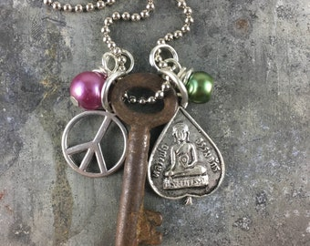 Skeleton Key Necklace with Buddha and Peace Sign Charms