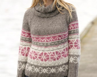 Women's Knit Fair Isle Sweater Multicolored Hand Knitted Sweater, Different colors available