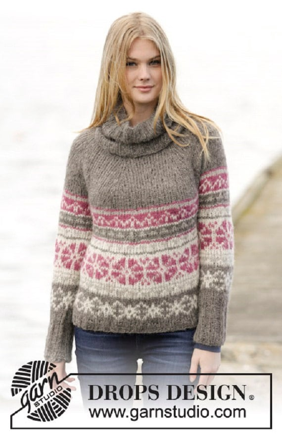 women 39 s knit fair isle sweater multicolored hand knitted. Black Bedroom Furniture Sets. Home Design Ideas