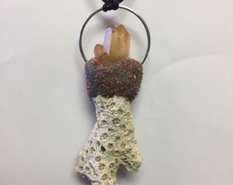 Coral with Tangerine Quartz and Jasper Pendant by oldmanwithers