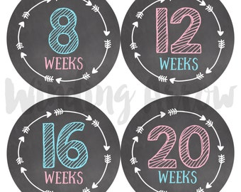 Baby Bump Stickers Pregnancy Week Maternity Shirt Belly Photo Prop Chalkboard Stickers Baby Boy Baby Girl Expecting Mom New Baby Gift Arrows
