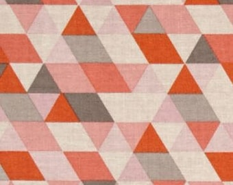 Geometric Triangle Ava Rose Coral Pink Grey Orange Cotton Fabric by Deena Rutter for Riley Blake Fabrics