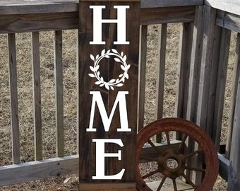 Home Sign - Wooden Shutter - Home With Wreath - Wood Sign - Front Door Sign - Family Sign - Home Art - Gift for Family