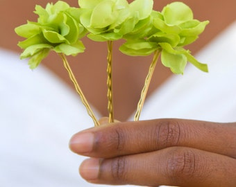 3 - Lime Green Blossom Bobbies // High-End Fashion Accessories / Luxury Hair Styling Headpieces for Women / Couture Flower Hair Pins