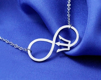 Infinity Fandom Trident Necklace Stainless Steel, Fandom Necklace, Poseidon Trident Necklace, Fandom Jewelry, Infinity Necklace, Gift Geek