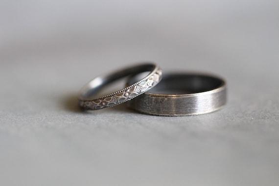 BECCA Wedding Rings Set Wedding Bands Sterling Silver