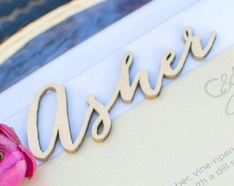 Gold Bombshell Calligraphy 3D Names, Laser Cut Place Seating Names