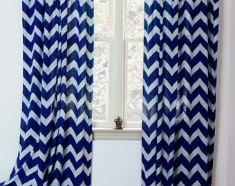 "50% OFF Navy blue Curtains Window Treatment indigo Zig Zag - ONE panel 44""w x 84""L /108""L - decor housewares home and living * On Sale*"