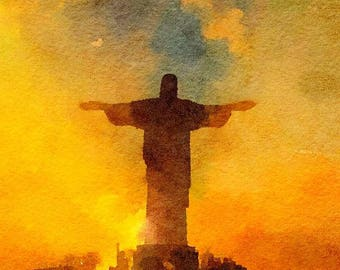 Jesus Statue Brazil Original Watercolor Brush Illustration Painting