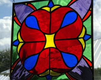 Stained glass panel/Traditional stained glass/ traditional glass panel/ cathedral stained glass/ traditional cathedral glass panel