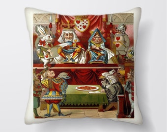 Alice In Wonderland Queen Of Hearts - Cushion Cover Case Or Stuffed With Insert